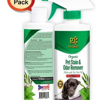 2 Pack Organic Pet Stain & Odor Remover Spray Mint w/ Tea Tree Oil (34 oz)