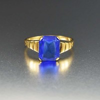 Chic 10K Gold Simulated Sapphire Art Deco Ring