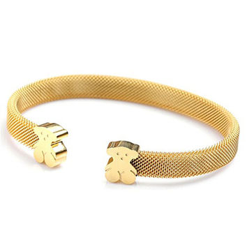 Women's titanium steel mesh bracelet 18K gold rope Bangle Bracelet Teddy Bear