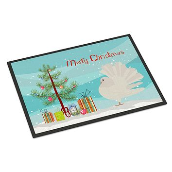 Silver Fantail Pigeon Christmas Indoor or Outdoor Mat 24x36 BB9317JMAT