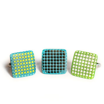 Blue ring Geometric ring Square ring Modern ring Minimal ring square 3D effect ring Blue and black ring Polka dots jewelry Contemporary ring
