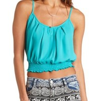 Keyhole Cut-Out Pleated Crop Top by Charlotte Russe - Turquoise