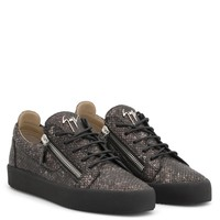 Giuseppe Zanotti Gz Frankie Grey Python-embossed Calfskin Leather Low-top Sneaker