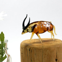 Tiny Amber Gazelle / Antelope Figurine - Art Glass  - Animal