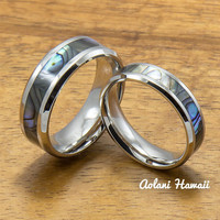 Stainless Wedding Ring Set Steel Rings with Abalone Inlay (6mm & 8mm width, Flat Style)