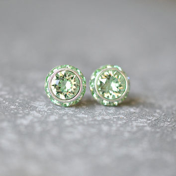 Mint Green Earrings Swarovski Crystal Minty Celery Green Rhinestone Studs Sugar Sparklers Small Mashugana