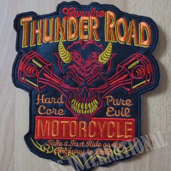 7.6 inches Engine Red Skull Evil large Embroidery Patches for Jacket Motorcycle Biker 19.5CM*16.5CM