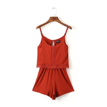Summer Lace Embroidery Vacation Spaghetti Strap One-piece Pants Romper [6033568961]