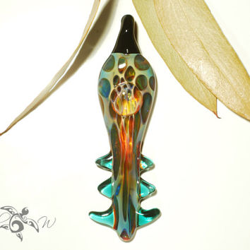 Elvin Glass Pendant - Handcrafted Glass Jewelry - Glass Boro Focal Bead - Details of Pure Silver - Unique Hand Blown Glass - Free Shipping