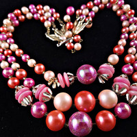 Multi Strand Necklace Pink Bead and Glass Signed Japan