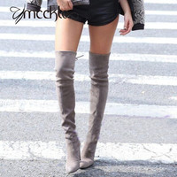 MCCKLE Women's Stretch Faux Suede Sexy Slim Thigh High Boots 2017 New Fashion Over the Knee High Heels Shoes Long Boots Woman