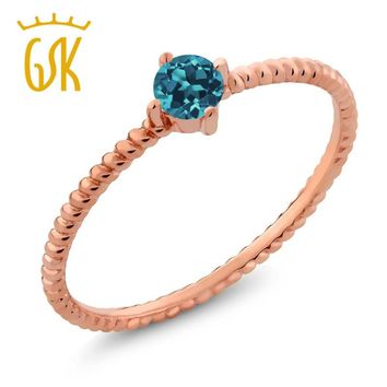 10K Solid Rose Gold 0.20 Ct Round London Blue Topaz Engagement Solitaire Ring