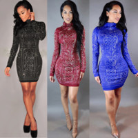 Turtleneck Printed Long Sleeves Bodycon Mini  Dress