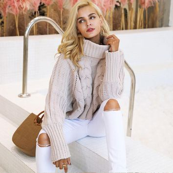 Chicloth Beige Turtleneck Long Sleeve Thick Stripe Sweater
