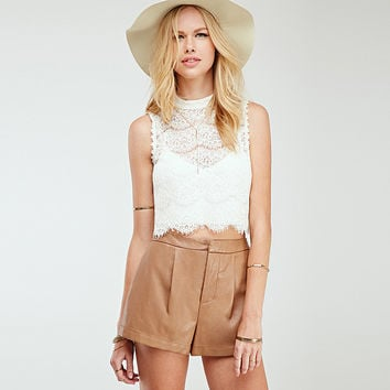 Sleeveless Lace Cropped Top