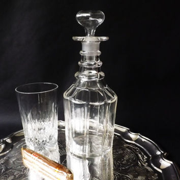 Antique Whiskey Decanter, Crystal Scotch Whisky Liquor Bottle, Three Ring Victorian Decanter, Spirit Decanter, Wine Sherry Mallet Decanter