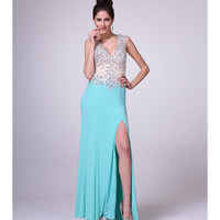 Preorder -  Mint Embellished Bodice Jersey Gown 2015 Prom Dresses