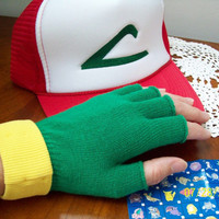 Pokemon Trainer Costume Set -- ASH KETCHUM  Cosplay  - Hat & Gloves