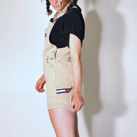 tommy hilfiger overall shorts / small GRUNGE tan denim bib dungarees overalls