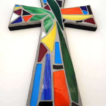 "Mosaic Wall Cross, Abstract Floral Design, ""Tropical Garden"", Multicolored/Bright Handmade Stained Glass Mosaic 15"" x 10"""