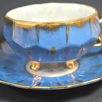 Vintage Footed Tea Cup and Saucer Lusterware Pale Blue form Japan Castle in fine Porcelain