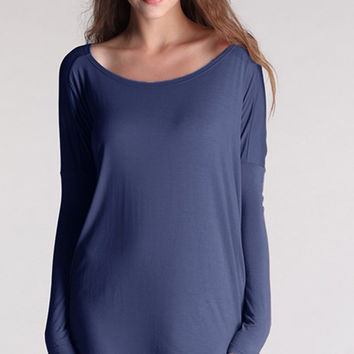 "PIKO ""Everything"" Long Sleeve Tunic - Sapphire"