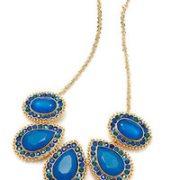 Style&co. Necklace, Gold-Tone Blue Green Pave Teardrop Frontal Necklace - Fashion Jewelry - Jewelry & Watches - Macy's