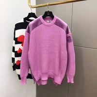 """Moncler"" Women Fashion Multicolor Stitching Zip Long Sleeve Knit Sweater Tops"