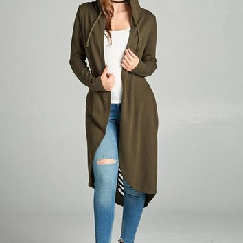 Distressed Back Hoody Cardigan - Olive