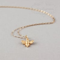 Little Gold Bee Necklace . Gold Bee Charm . Bumble Bee . Honeybee . 14k Gold Filled Chain . Bee Jewelry . 24k Gold Gift for Her . Symbolic