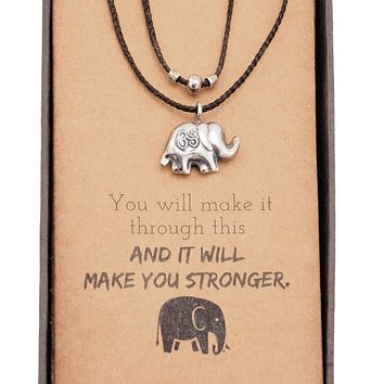Kayin Om Symbol Lucky Elephant Necklace in Waxed Cotton Cord, Handcrafted Jewelry, Greeting Card