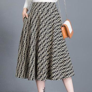 FENDI Fashion Women Personality F Letter Jacquard High Waist A-Line Skirt