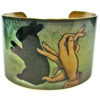 Rabbit Shadow Puppet Vintage Style Brass Cuff Bracelet - Whimsical & Unique Gift Ideas for the Coolest Gift Givers