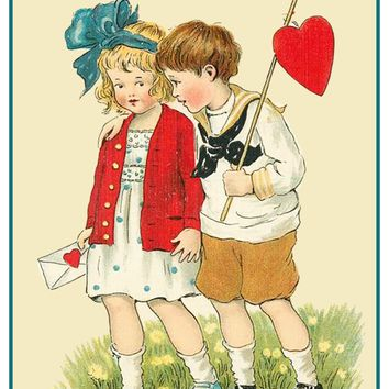 Vintage Valentine Boy Girl Fishing for Hearts Love Counted Cross Stitch or Counted Needlepoint Pattern