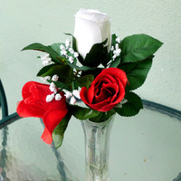 Silk Floral Arrangement, Valentine's Day Roses, Red and White Roses (V1)