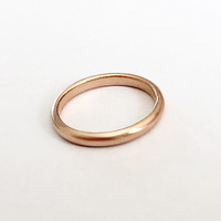 Rose Gold Half Round Ring - D Shape Ring - 3mm Wide Ring -18 Carat - Simple Wedding Band - Men's Women's Unisex