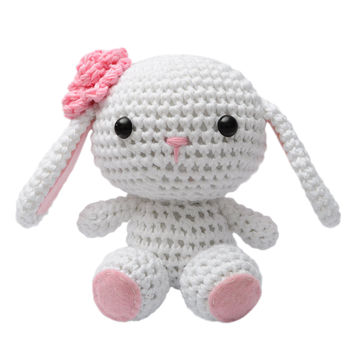 White Bunnies Handmade Amigurumi Stuffed Toy Knit Crochet Doll VAC