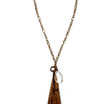 Lucy's Inspired Antique Brass Necklace with Feather Disk & Crystal Drop