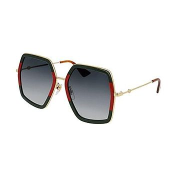 Gucci GG 0106 S- 007 GREEN / GREY GOLD Sunglasses