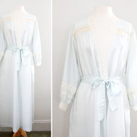 Vintage 1970s - 80s Christian Dior Maxi Robe Long - Lace Trim Robe - Size Small to Large