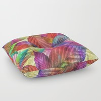 Coloured Leaf Collage Floor Pillow by inspiredimages
