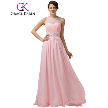 Grace Karin Lilac Pink Long Prom Dresses Elegant Fromal Party Gown Ball Beaded Ruched Bodice Special Occasion Dress Chiffon 2017