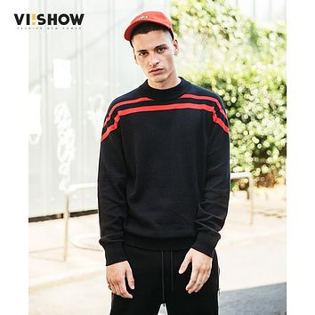 VIISHOW Autumn Mens Sweater Pullover Fashion Brand Casual Sweater O-Neck Striped Slim Fit Knitting Mens Sweaters And Pullovers