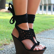 Riverside Drive Gladiator Ankle Strap Black Cut Out Wedge Sandals