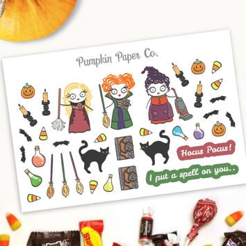 Hocus Pocus stickers, Halloween planner stickers, planner stickers, black cat, potion stickers, harry potter, 36 stickers, PPC186