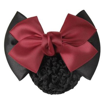 DCCKLW8 1 PC Sweet Girl Satin Bow Barrette Lady Hair Clip Cover Bowknot Bun Snood Women Hair Accessories QLM
