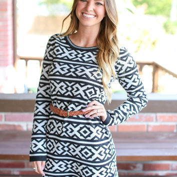 Aztec Sweater Dress - Black