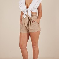 All Rounder shorts in beige stripe Produced By SHOWPO