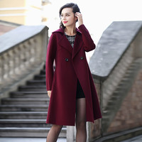 Navy or Red Notched Collar Two Buttons A-Line Coat