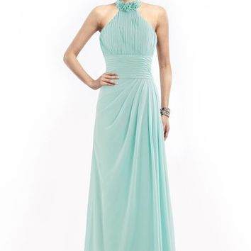COCOMELODY Women's A Line Long Halter Neck Pleated Chiffon Bridesmaid Dress